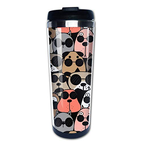 Animal Wearing Sunglasses Coffee Mug Leakproof Insulated Thermos Cup Stainless Steel Coffee Tumbler