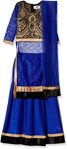 Atayant Girl Lehenga Choli (ATAYK_035_3:4YR_Black:Blue_M)