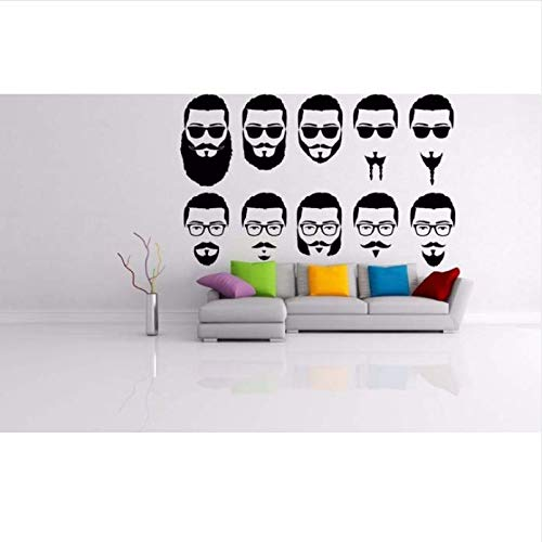 Hyllbb Brille Schnurrbart Sonnenbrille Stil Salon Schild Friseur Haar Logo Bart Vinyl Wandkunst Aufkleber Aufkleber Home Room 42 * 67 Cm