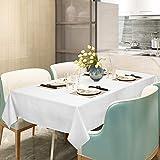 WOLTU Tischwäsche Tischdecke Damast 100% Baumwolle Eckig Weiß 130x240 cm Vollzwirn 4-seitiger Atlaskante Größe wählbar