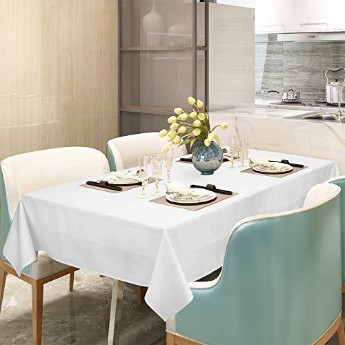 WOLTU Tischwäsche Tischdecke Damast 100% Baumwolle Eckig Weiß 130x260 cm Vollzwirn 4-seitiger Atlaskante Größe...