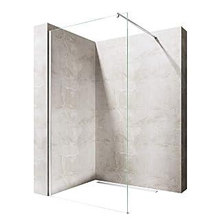 Sogood Luxus Duschwand Duschabtrennung Bremen1K 120x200 Walk-In Dusche mit Stabilisator aus Echtglas 8mm ESG-Sicherheitsglas Klarglas inkl. Nanobeschichtung