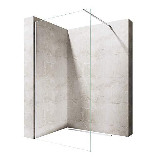 duschta e 90x70 Sogood Luxus Duschwand Duschabtrennung Bremen1K 90x200 Walk-In Dusche mit Stabilisator aus Echtglas 8mm ESG-Sicherheitsglas Klarglas inkl. Nanobeschichtung