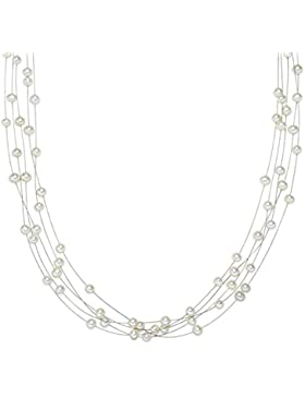 Valero Pearls Classic Collection Damen-Kette Hochwertige Süßwasser-Zuchtperlen in ca.  4 mm Oval weiß 925 Sterling...
