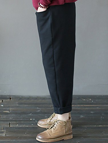 Vogstyle Femme Pantalon Sarouel Rétro avec deux poches latérales Noir