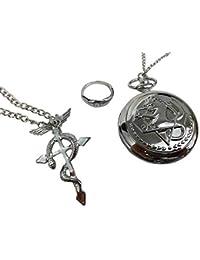 Katara Fullmetal Alchemist Set 3 Pcs-Reloj de Bolsillo, Colgante, Anillo, Anime Disfraz Cosplay, color plata, 4.5 cm (1736)