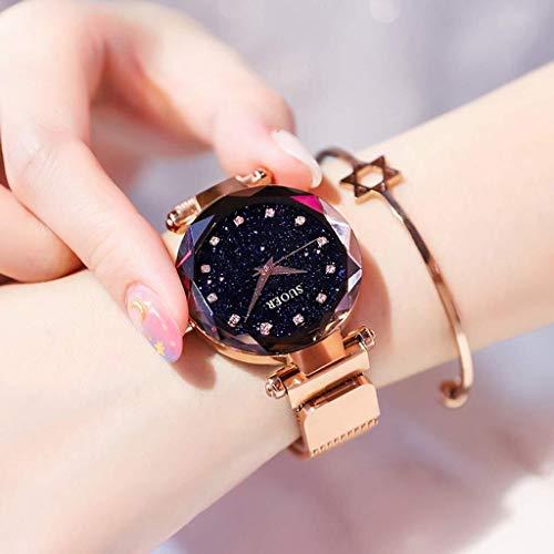 Beewanta Damenuhr Sternenhimmel Mädchenuhr Modetrend Wasserdichtes Premium Metallarmband Sternenhimmel Zifferblatt Diamant mit gut aussehendem Armband (Color : Gold)