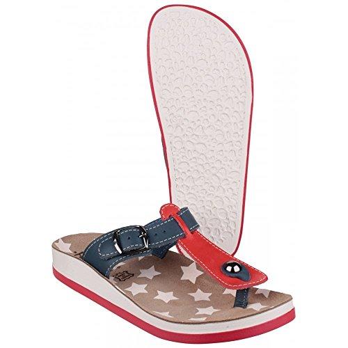 Fantasy Ladies Naxos Leather Metal Buckle Flip Flop Sandal Pink Red/Blue