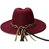 Hat- Lana Mujeres Hombres Chapeau Femme Fedora Sombreros para Caballero Sombrero Gorra Elegante Señora Trilby Iglesia Derby Cloche Sun Cap (Color : Vino Rojo, tamaño : 56-58cm)