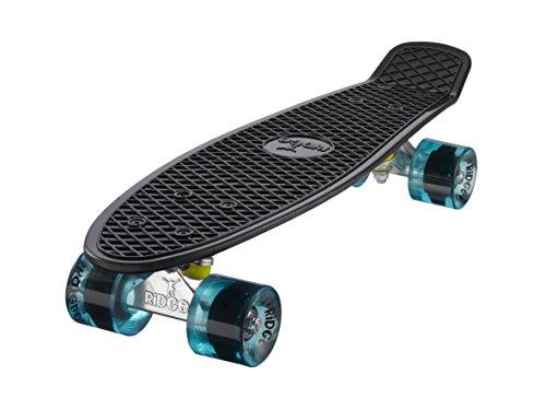 """Ridge 22"""" Mini Cruiser Board Retro Skateboard, komplett ausgerüstet, in schwarz, völlig in der EU entworfen und hergestellt"""