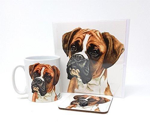 3 Stück Set Boxer Hund Welpen Hergestellt in Großbritannien Keramiktasse Kanne Gruß Geburtstagskarte Untersetzer (Stück Boxer Set)
