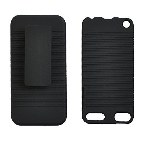 Seadream schwarz gummierte Hard Case + Gürtelclip Kickstand Combo für iPod Touch 55. 66. Generation (Touch Ipod Fällen)