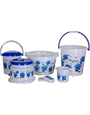 Aarohi13 Plastic Bath Set, 6 Pieces, Blue