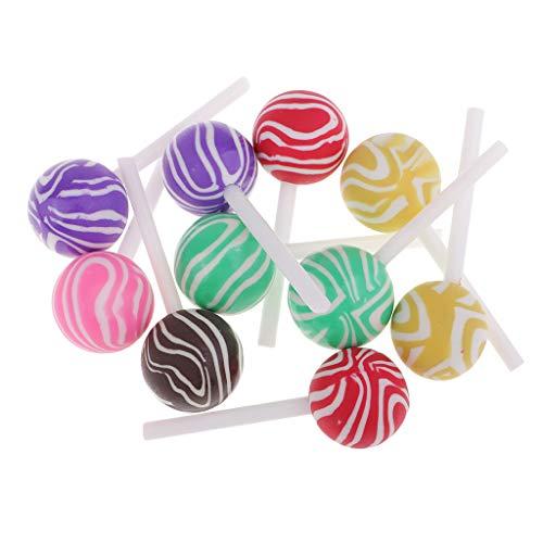 Baoblaze 10 Stück Lollipop Form Polymer Clay Verzierungen DIY Cabochon Craft Ornament