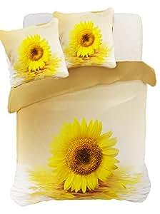 200x200 cm gelb creme ecru Vanille Elfenbein sandfarbig 3D Microfaser Bettwäsche Bettbezug Bettwäschegarnitur mit zwei Kissenbezügen 80x80 cm Sonnenblume Blume Blumenmotiv SUN