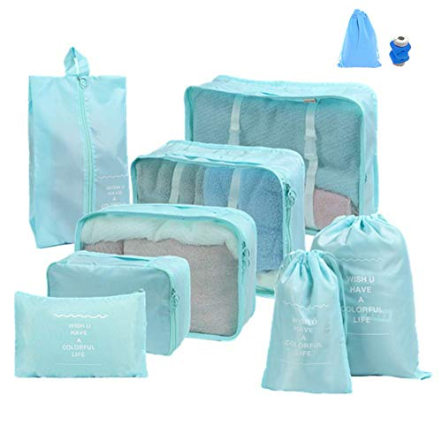 8 Stück Kleidertaschen,Aufbewahrung Taschen Organiser,Travel Gepäck Organizer Taschen - Perfekter Reisegepäck-Organizer (Blau)