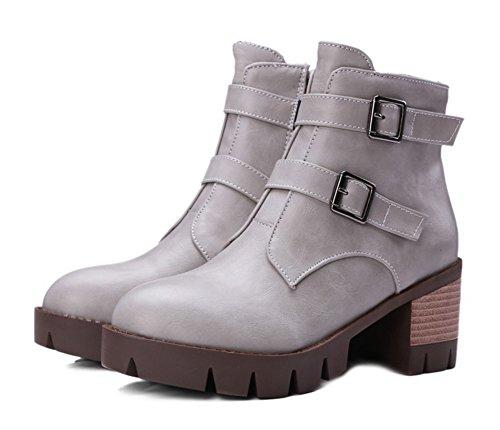 Aisun Damen Retro Stiefelband Martin Blockabsatz Low Ankle Biker Boots Grau