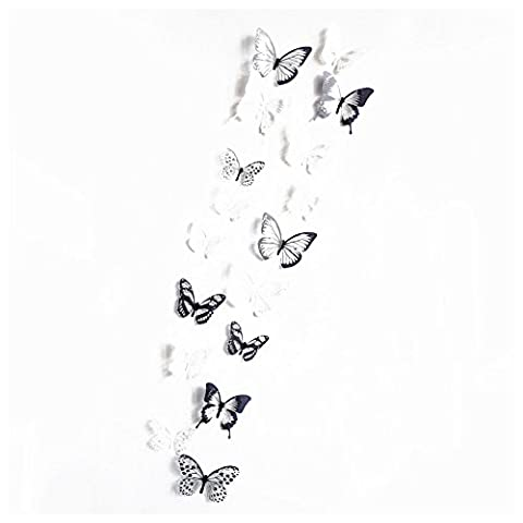 SODIAL(R) 18 pcs semi-transparent Sticker mural papillon 3D Stickers muraux amovibles 3D Decoration de la maison (Noir + blanc)