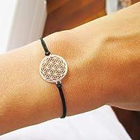 AQUAGEMS Armband mit Blume des Lebens 925er Sterlingsilber | Lebensblume Damen Schmuck | Schwarz