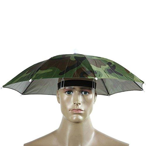 Malloom Novedad Plegable Paraguas de Cabeza Sombrero para el Sol y la Lluvia, para Golf, Pesca y Acampada (Camouflage)