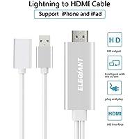 Mirroring Kabel, ELEGIANT HDMI Adapterkabel HDMI Dongle Kabel AV HDMI TV HDTV Kabel Adapter HD HDMI Streaming Dongle Audio Video Converter High Definition 1080p Keine App, Plug & Play, kein Netzwerk benötigt, kompatibel NUR mit iPhone 5s, SE 5 5c,6 6 Plus, 6s 6s Plus, 7 7 Plus; iPad iPad mini, mini 2, mini 3, mini 4, Air, Air 2, iPad Pro (Lightning Kabel nicht enthält) Nicht kompatibel mit der App, die das Urheberrecht erfordert, wie: Netflix/ iTunes/ Amazon Video/ESPN usw
