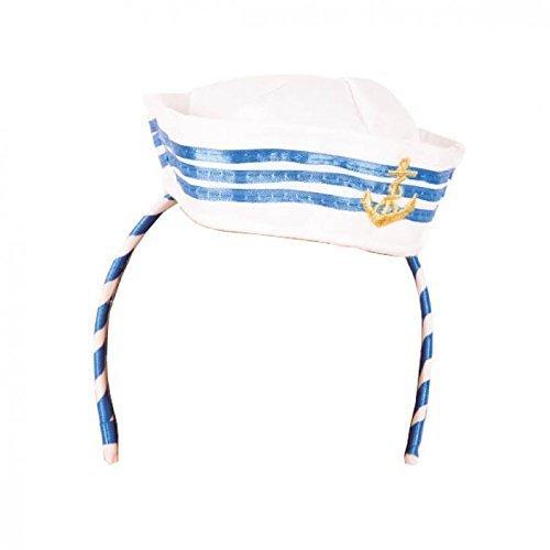 (Lively Moments Weißes - blaues Marinecap / Marinehut gestreift auf Haarreif mit goldfarbenem, gesticktem Anker / Kostüm Zubehör)