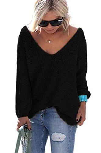 Schwarz Lange Ärmel Pullover Pullover (YACOPO Damen Herbst und Winter arbeiten lose mit langen Ärmeln V-Ausschnitt-PulloverSexy Pullover mit V-Ausschnitt Pulli tollen Farben - 12 Farben und 4 Größen)