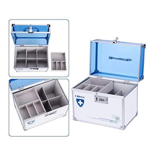 41VoNHSXpbL - Caja de seguridad para medicamentos con cerradura para el cuidado de la salud, joyería, organizador de armario con combinación - doble capa