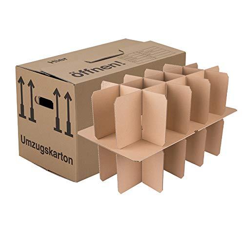 150 Gläserkartons mit 30/15 Fächern Flaschenkartons für Umzug Verpackung Umzugskartons thumbnail