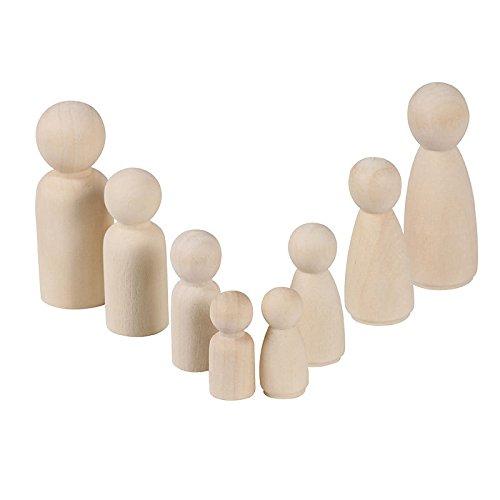 Figuren Holzfiguren,8 Stücke Familie DIY Holzfiguren Figurenkegel Spielfiguren zum Bemalen Basteln Holz Puppen Krippenfiguren Spielfiguren Mann Frau Junge Mädchen Kinder