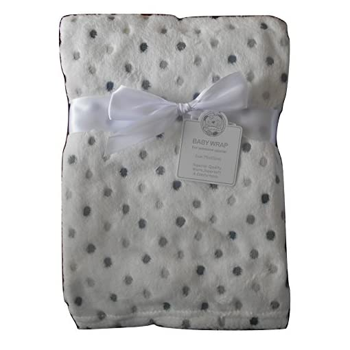 Baby-Boys-Girls-Unisex-Cute-Gorgeous-White-and-Grey-Spotted-Blanket-Infants-Wrap