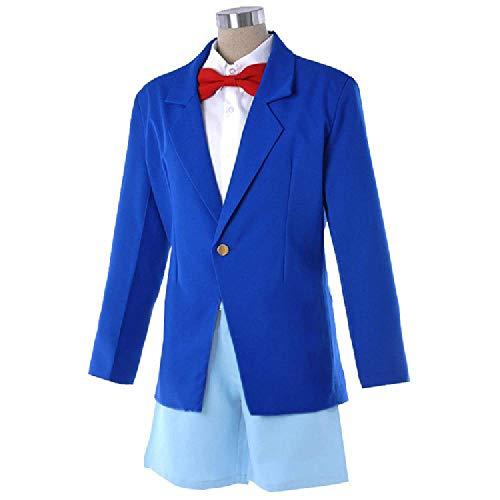 Conan Für Erwachsenen Kostüm - DXYQT Anime Blue Uniform Cosplay Kostüme Halloween Kostüme Campus Kleidung World Book Day Kostüme für Conan Adult Child,Jacket Shirt Pants Bow tie-130