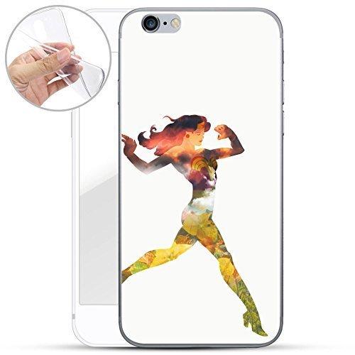 finoo | iPhone 6 / 6S Weiche flexible lizensierte Silikon-Handy-Hülle | Transparente TPU Cover Schale mit Wonder Woman Motiv | Tasche Case mit Ultra Slim Rundum-schutz | Every Mom Step Sunset