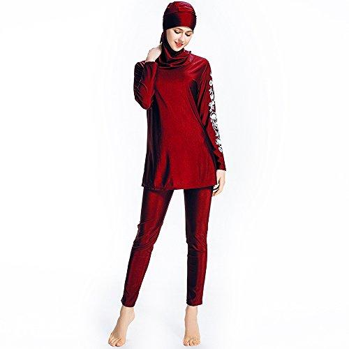 Mr Lin123 Bañador musulmán islámico para mujer, bañador de cobertura completa, bañador musulmán, playa, traje de baño burkini, Red-floral, Large