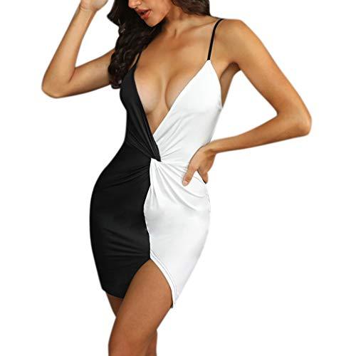 UJUNAOR Dress Damen Sexy Deep V-Ausschnitt Ärmelloses Spaghetti-Armband Bodycon Wrap Kleid Vorne Schlitz Pacthwork Midi Club Kleid (49ers Armband)