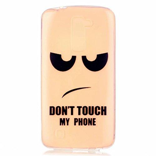 MUTOUREN für LG K7 Transparent TPU Silikon Schutz Handy Hülle Case Cover [Kratzfeste, Scratch-Resistant] Hülle Schutzhülle Crystal Kirstall Durchsichtig Fall-Abdeckung Etui TPU Bumper Schale - Don't Touch My Phone