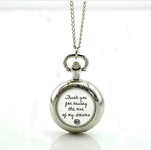Taschenuhr, für Hochzeit, Bräutigam oder Brautschmuck, Glas-Medaillon, Halskette, antikes Taschenuhr, Halskette (Antik-glas Medaillon)