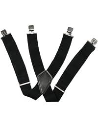 Bretelles Homme 50mm Large réglable élastique Couleur Noir Forme Classique 4 Clips Unisexe