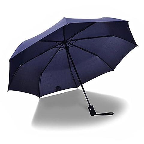 Joymixx Parapluie pliable Portable, Trois pliant parapluie, entièrement automatique Une touche ouverte à fermeture automatique, anti UV Protection solaire + Résistant à l'eau + 8 Cadre renforcé à la barre et étanche au vent, Parasol pour hommes et femmes, Opération à une touche pour voiture, Voyages - Classique et Affaires (Bleu)