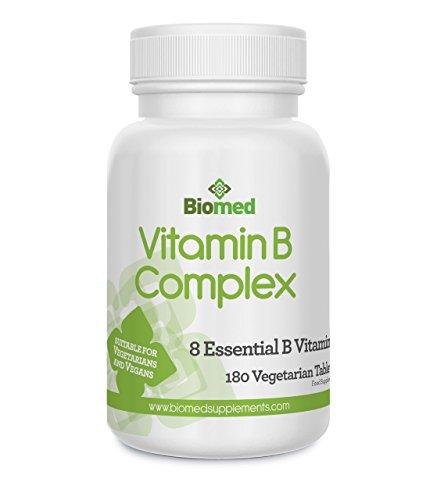Vitamin B Komplex, 180 vegetarisch, veganische Tabletten, enthalten alle 8 Vitamin B, B1,B2,B3, B5, B12, Biotin und Faulsäure, 6 Monate hoch konzentrierte Nahrungsergänzung von Biomed (Lebensmittel-wissenschaft B-komplex-vitamine)