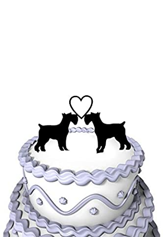 Meijiafei Wedding Cake Topper - Schnauzer Dogs with Heart Silhouette