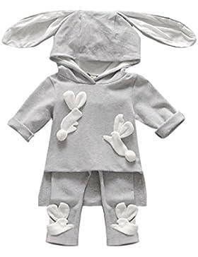 Amlaiworld Baby Kaninchen ohr Flickwerk lang sweatshirt warm Winter hosen sport niedlich pullis sets,0-36Monate