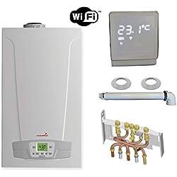 Chaudière Gaz Condensation Initia + Compact Chappée 25 kW Complète (Ventouse + Douilles + Dosseret) avec Thermostat Connecté