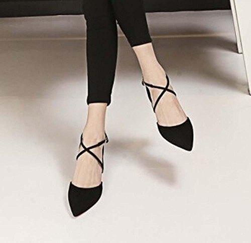 Beauqueen Scarpin Pumpe Einfache Scrub Spitz-Toe Mädchen Frauen Casual Tie Elegante Aprikose Schwarz Schuhe Europa Größe 34-39 Black