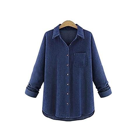 Femme T-shirt, Feixiang exclusif customisation Taille plus Femme Chemise manches longues Décontracté T-shirt pour femme TOPS, plastique, bleu, XXXXL