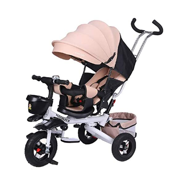GHDE& 360°Reversible Seat Tricycle 4 in 1 Kids Trike with Sunshade and Push Rod, Fit from 12 Months to 6 Years (Max Load 30kg),D  4 IN 1 TRIKE: It4 IN 1 TRIKE: It is a Toddler bike, baby walker, stroller, or trike with parent pushing rod and sun canopy. is a Toddler bike, baby walker, stroller, or trike with parent pushing rod and sun canopy. Folding footrests or pedals for older children. Versatile, removable basket with carry handle. Removable bag with zipper. Blockable rear wheels. Bottle holder + folding seashell basket. Removable safety bar at the seat. 360° swivelling saddle. Bottle holder. Pleasantly padded seat. Front and back fenders. 1