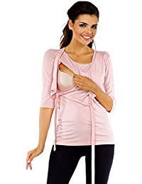Zeta Ville Premamá - Camiseta de lactancia efecto 2 en 1 - para mujer - 458c