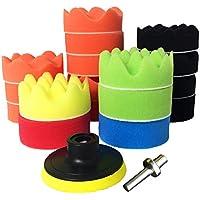 Esponja Pulir - 19 Piezas 3'' Esponjas de Pulido Esponja Pulidora Almohadillas para Pulir Coche con M10 Adaptador para Taladro