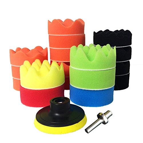 Polierschwamm Polierpad Set - 19 Pcs 3\'\' Auto Polierset aus Schwamm Und Wolle Politur Set Polierteller für Poliermaschine M10 Bohrer Adapter