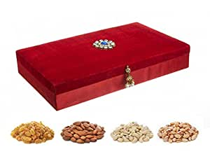 Velvet Red Diwali Dry Fruits Gift Pack, 600g